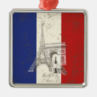 フランスID156の旗そして記号 メタルオーナメント