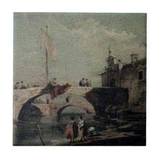 フランチェスコGuardi著橋が付いている町 タイル