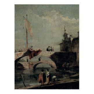 フランチェスコGuardi著橋が付いている町 ポストカード