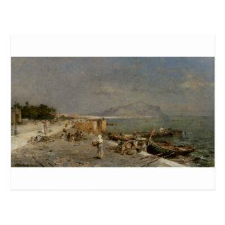 フランツリチャード著パレルモの水辺地帯 ポストカード