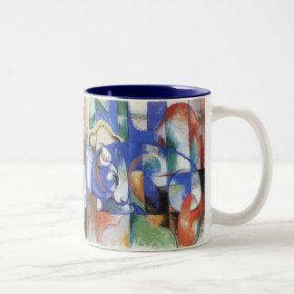 フランツ・マルク著あるBull、ヴィンテージの立体派の芸術 ツートーンマグカップ