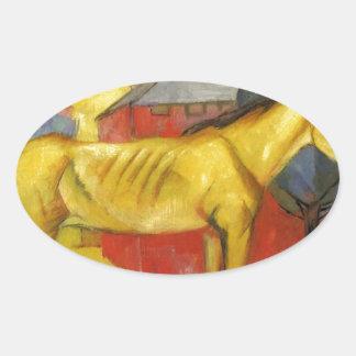 フランツ・マルク著長く黄色い馬 楕円形シール