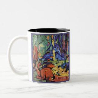 フランツ・マルク-森林の卵の雌ジカ-表現主義者 ツートーンマグカップ