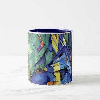 フランツ・マルク-森林(ii)のシカ ツートーンマグカップ