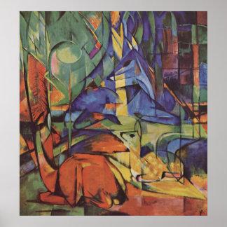 フランツ・マルク-森IIの1913-14月の子鹿のシカ ポスター