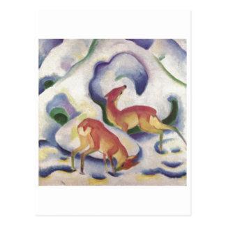 フランツ・マルク-雪の1911年のキャンバスの子鹿の雌ジカのシカ ポストカード