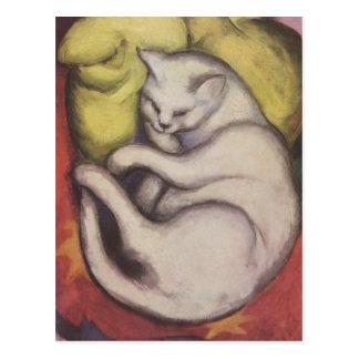 フランツ・マルク-黄色いクッションの猫 ポストカード