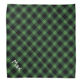 フランネルの緑のバッファローの格子縞パターンペットネーム バンダナ