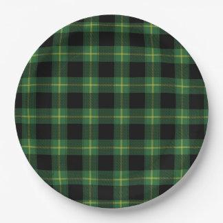 フランネルの緑のバッファローの格子縞パターン秋の秋 ペーパープレート