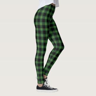 フランネルの緑のバッファローの格子縞パターン秋の秋 レギンス