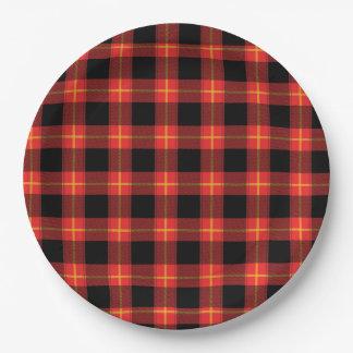 フランネルの赤いバッファローの格子縞パターン秋の秋の芸術 ペーパープレート