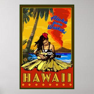 フラ女の子- Waikiki、ハワイのダイヤモンドの頭部ポスター ポスター