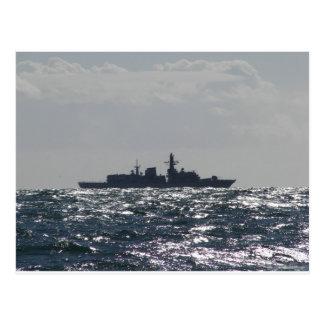 フリゲート艦のシルエット ポストカード