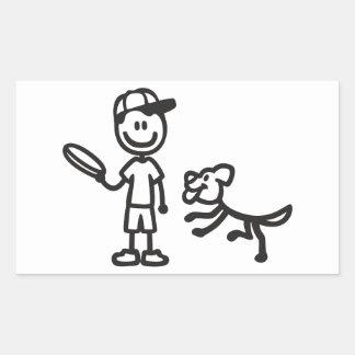 フリズビーを遊んでいる棒人および犬 長方形シール