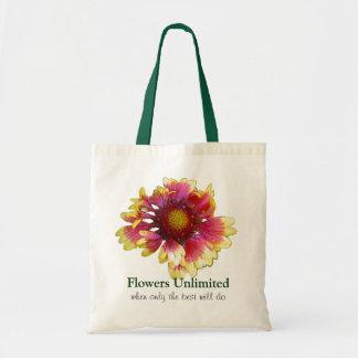 フリルが付いた花の花屋の広告宣伝のバッグ トートバッグ