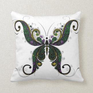 フリルが付いた蝶白い枕の紫色の緑金ゴールド クッション