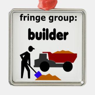 フリンジのグループ: 建築者 シルバーカラー正方形オーナメント