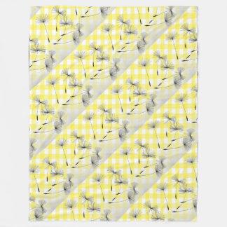 フリースの黄色い格子縞のタンポポは毛布を望みます フリースブランケット