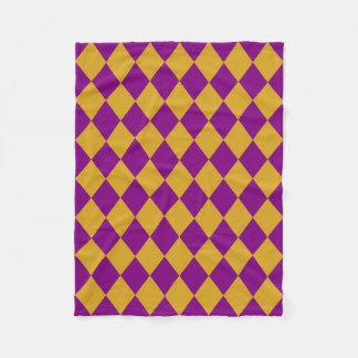 フリースブランケット: Goldenrod及び紫色のダイヤモンド フリースブランケット