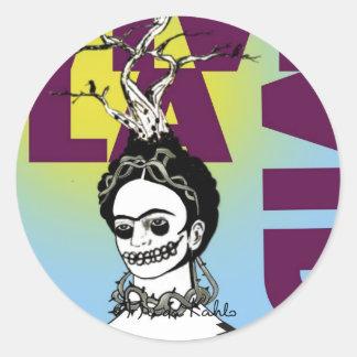 フリーダ・カーロのポップアートのポートレート ラウンドシール