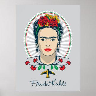 フリーダ・カーロ のヴィンテージの花柄 ポスター