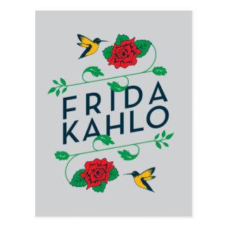 フリーダ・カーロ の花柄のタイポグラフィ ポストカード