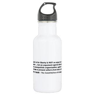 フリートリッヒHayekの引用文自由のための議論 ウォーターボトル