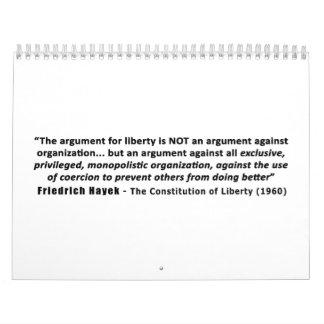 フリートリッヒHayekの引用文自由のための議論 カレンダー