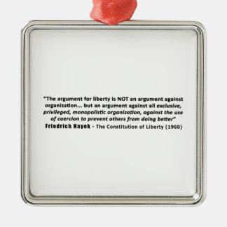 フリートリッヒHayekの引用文自由のための議論 シルバーカラー正方形オーナメント