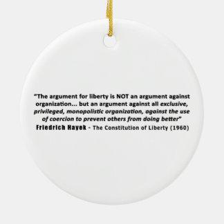 フリートリッヒHayekの引用文自由のための議論 セラミックオーナメント