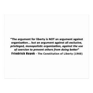 フリートリッヒHayekの引用文自由のための議論 ポストカード