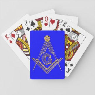 フリーメーソンのカード青および金ゴールド トランプ