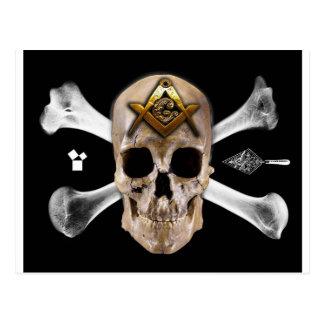 フリーメーソンのスカル及び骨のコンパスの正方形 ポストカード