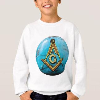 フリーメーソンの正方形及びコンパスのターコイズ スウェットシャツ