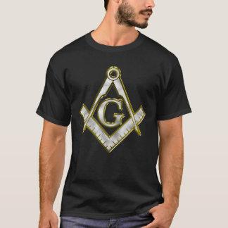 フリーメーソン会員のきらきら光るな正方形のコンパスの金ゴールドか銀製のTシャツ Tシャツ