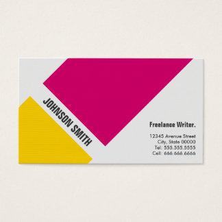 フリーランス・ライター-シンプルなピンクの黄色 名刺