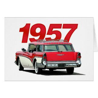 フルカラーの「57 Buickワゴンメッセージカード カード