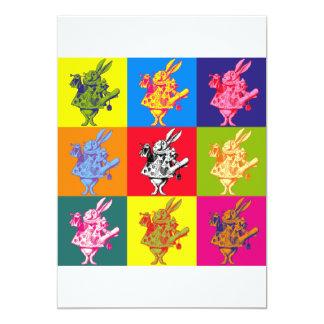 フルカラーポップアートの白いウサギ カード