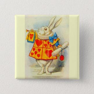 フルカラー白いウサギ 5.1CM 正方形バッジ