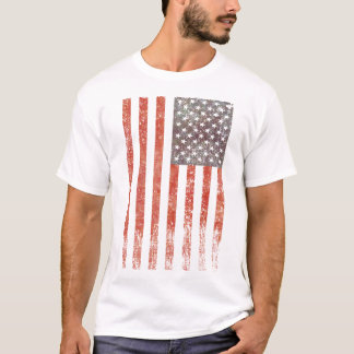 フルカラー米国旗-風化引き裂衰退する- Tシャツ