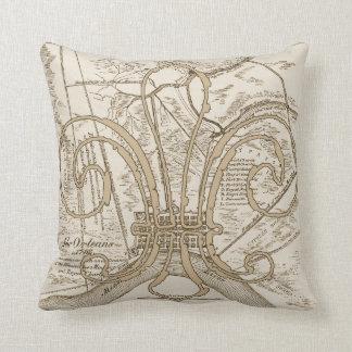 フルーアのニュー・オーリンズの古い地図 クッション