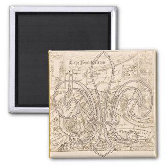 フルーアのニュー・オーリンズの古い地図 マグネット