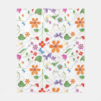 フルーアの花柄のフリースブランケット フリースブランケット