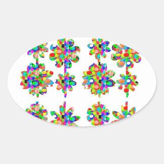 フルーアのmignonneのmodèleのユニークでかわいい花模様 楕円形シール