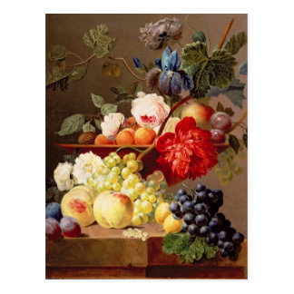 フルーツおよび花が付いている静物画 ポストカード