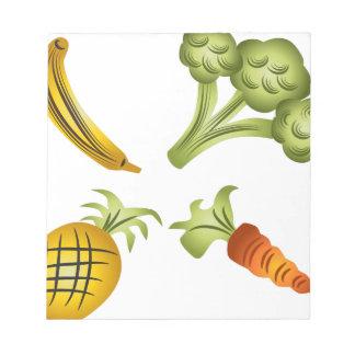 フルーツおよび野菜の漫画のスケッチ ノートパッド