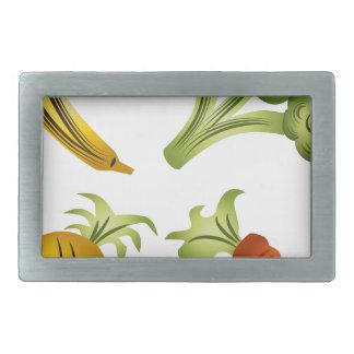 フルーツおよび野菜の漫画のスケッチ 長方形ベルトバックル