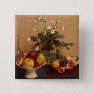 フルーツが付いている花、皿およびcarafe 1865年 5.1cm 正方形バッジ