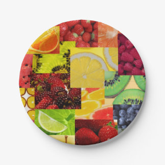 フルーツのコラージュの紙皿 紙皿 小