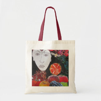 フルーツのバッグ、オレンジ、りんご、ブドウ、顔 トートバッグ